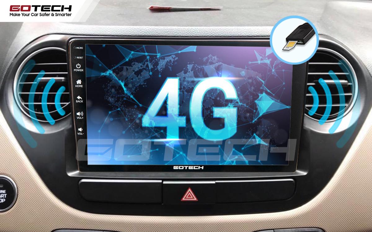 Sim 4G kết nối internet tốc độ cao trên màn hình ô tô GOTECH cho xe Hyundai i10 2014-2019