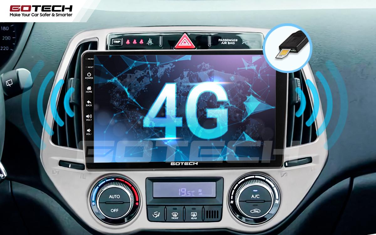 Sim 4G kết nối internet tốc độ cao trên màn hình ô tô GOTECH cho xe Hyundai i20 2013-2014