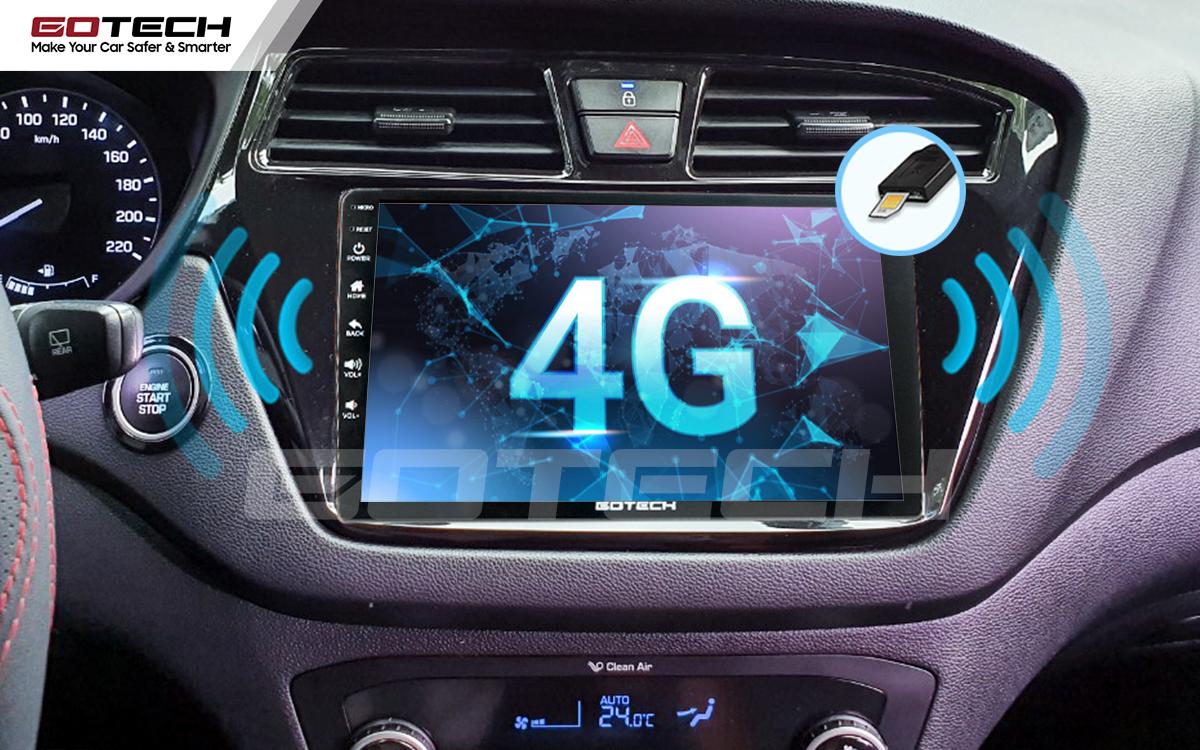 Sim 4G kết nối internet tốc độ cao trên màn hình ô tô GOTECH cho xe Hyundai i20 Active 2015-2018