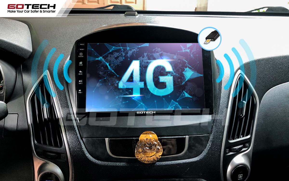 Sim 4G kết nối internet tốc độ cao trên màn hình ô tô GOTECH cho xe Hyundai Tucson 2010-2014