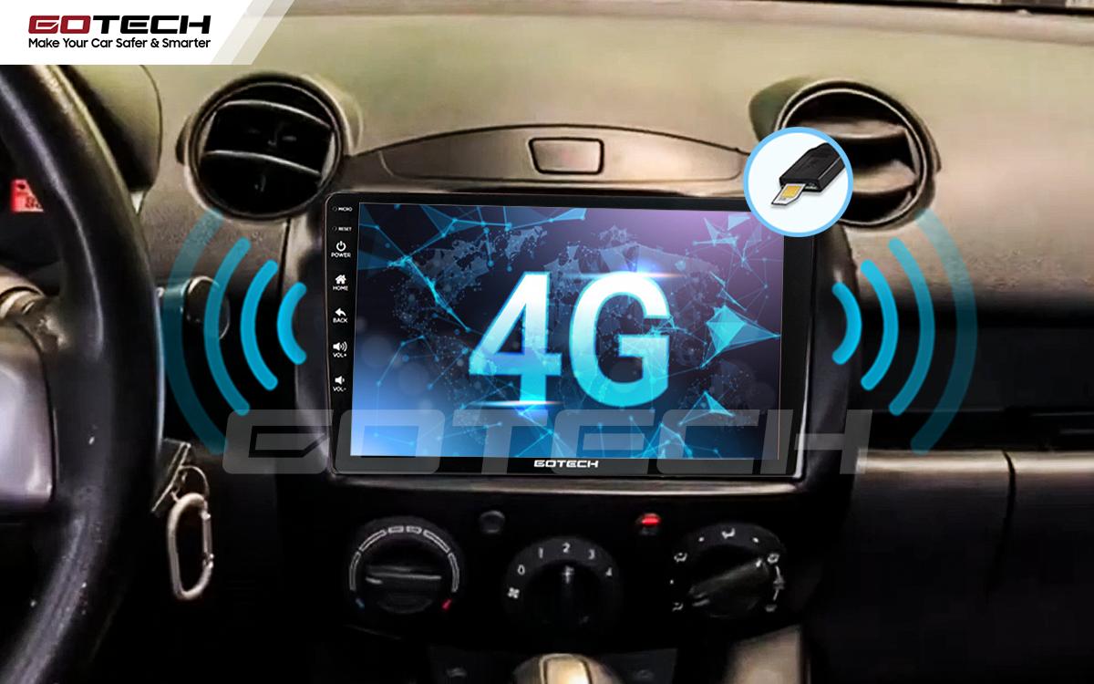 Sim 4G kết nối internet tốc độ cao trên màn hình ô tô GOTECH cho xe Mazda 2 2012-2013