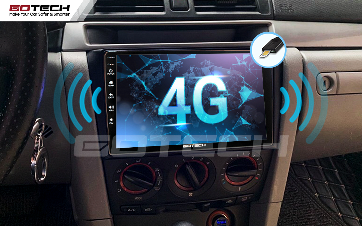 Sim 4G kết nối internet tốc độ cao trên màn hình ô tô GOTECH cho xe Mazda 3 2004-2009