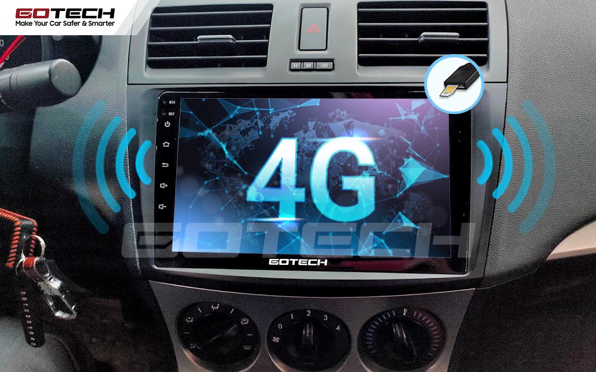 Sim 4G kết nối internet tốc độ cao trên màn hình ô tô GOTECH cho xe Mazda 3 2010-2013