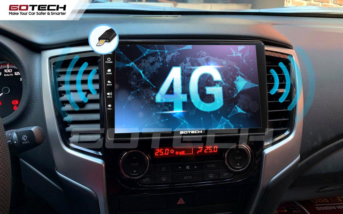 Sim 4G kết nối internet tốc độ cao trên màn hình ô tô GOTECH cho xe Mitsubishi Triton 2019-2020