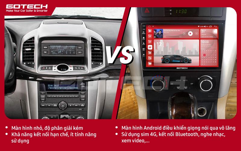 So sánh trước và sau khi lắp đặt màn hình ô tô GOTECH cho xe Chevrolet Captiva 2013-2015