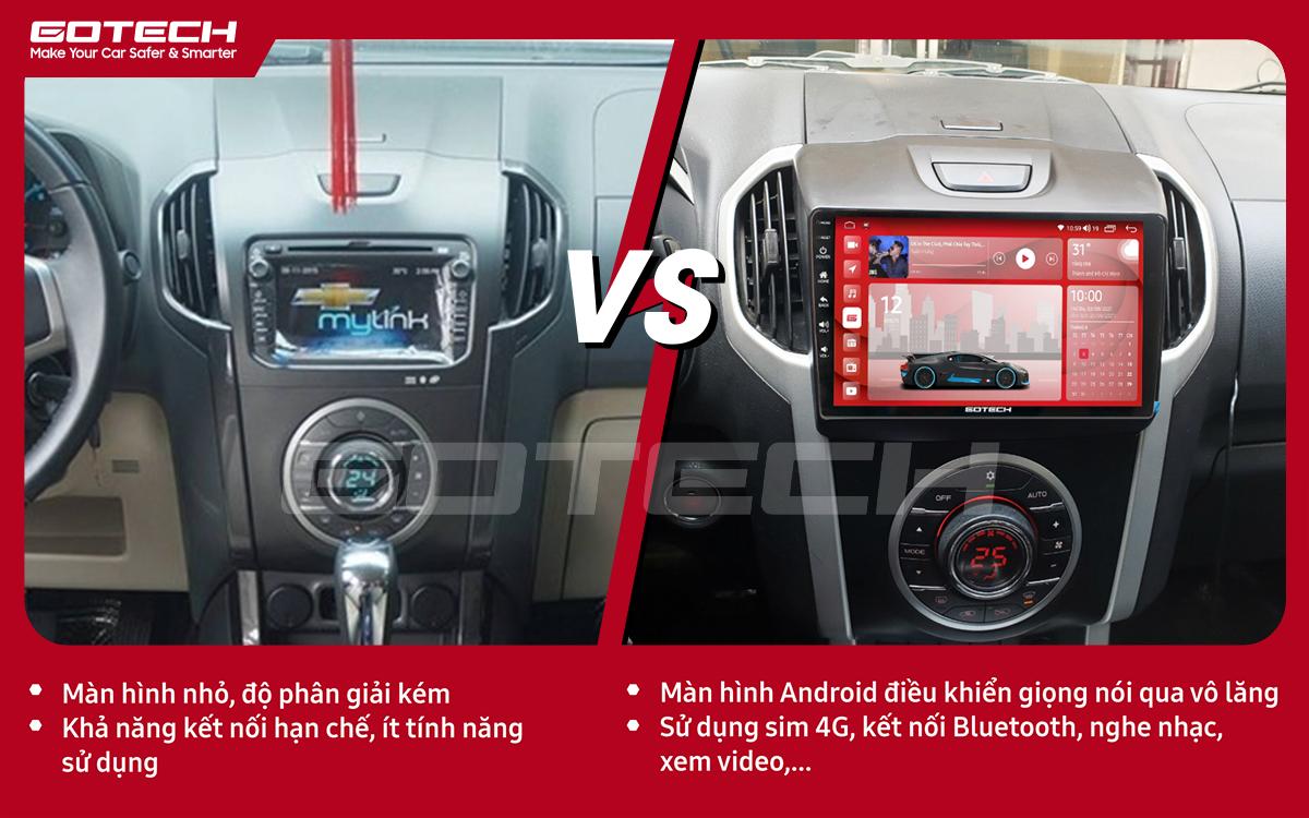 So sánh trước và sau khi lắp đặt màn hình ô tô GOTECH cho xe Chevrolet Colorado 2015-2016