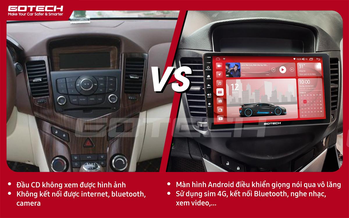 So sánh trước và sau khi lắp đặt màn hình ô tô GOTECH cho xe Chevrolet Cruze 2009-2015
