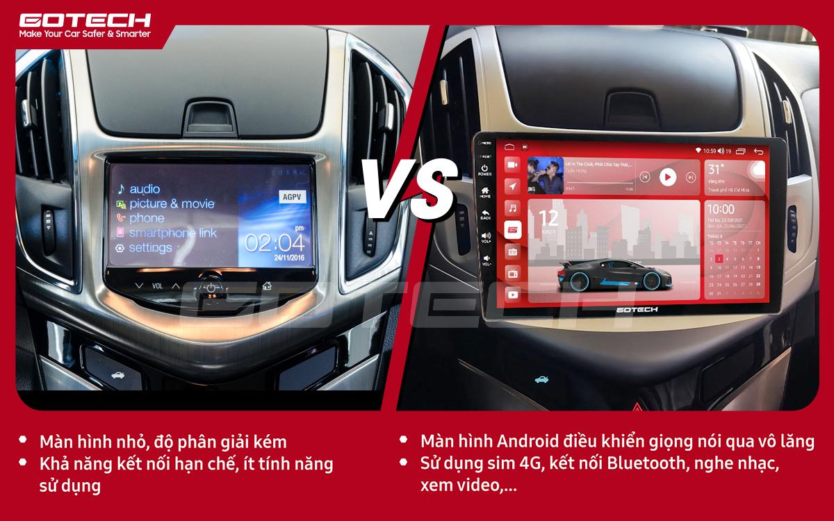 So sánh trước và sau khi lắp đặt màn hình ô tô GOTECH cho xe Chevrolet Cruze 2017-2018