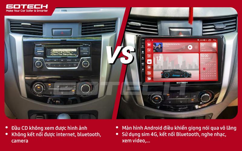 So sánh trước và sau khi lắp đặt màn hình ô tô GOTECH cho xe Nissan Navara 2015- 2020