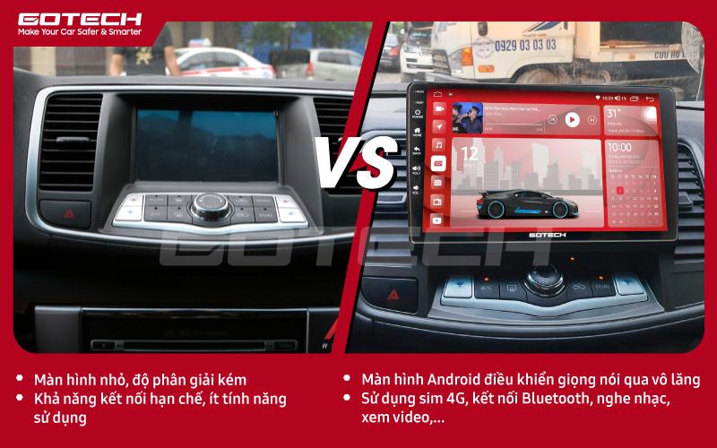 So sánh trước và sau khi lắp đặt màn hình ô tô GOTECH cho xe Nissan Teana 2009-2011