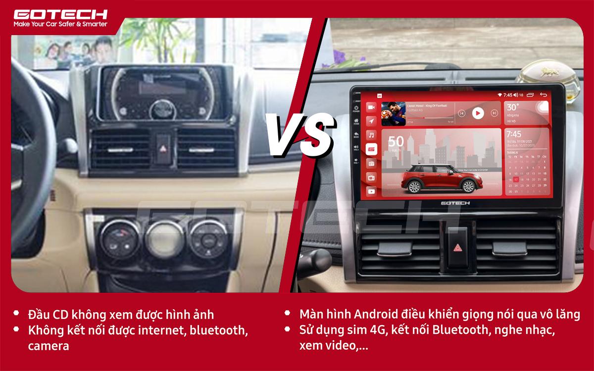 Hình ảnh trước và sau khi lắp đặt màn hình ô tô GOTECH cho xe Toyota Vios 2014 - 2018