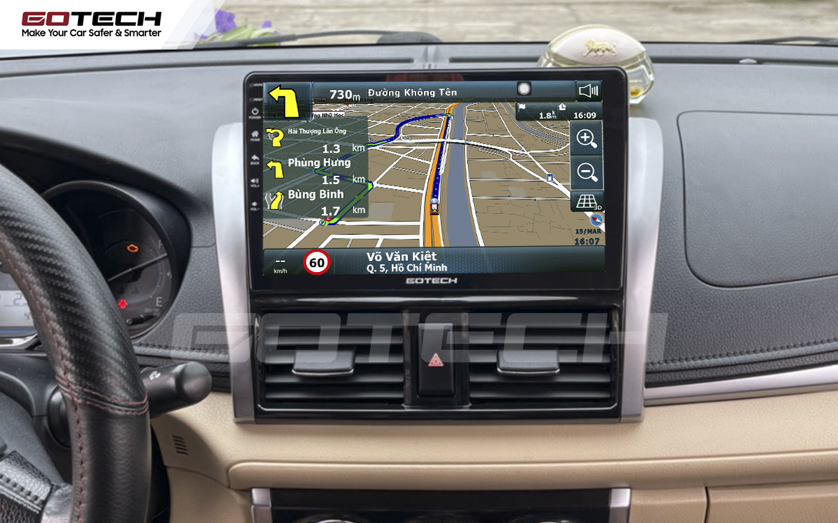 Màn hình GOTECH cho xe Toyota Vios 2014 - 2018 tích hợp bản đồ dẫn đường bản quyền