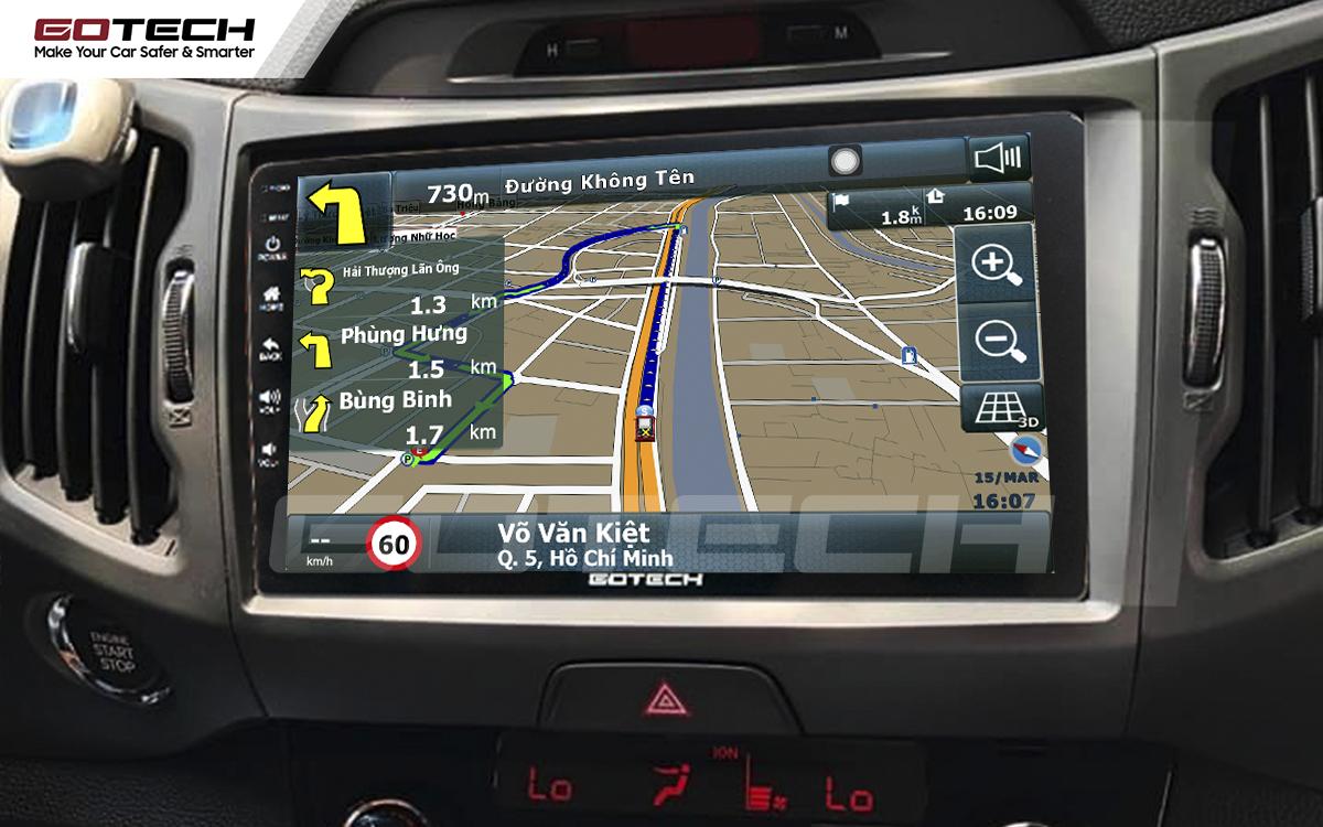 Các ứng dụng chỉ đường thông minh trên màn hình ô tô GOTECH cho xe Kia Sportage 2011 - 2014