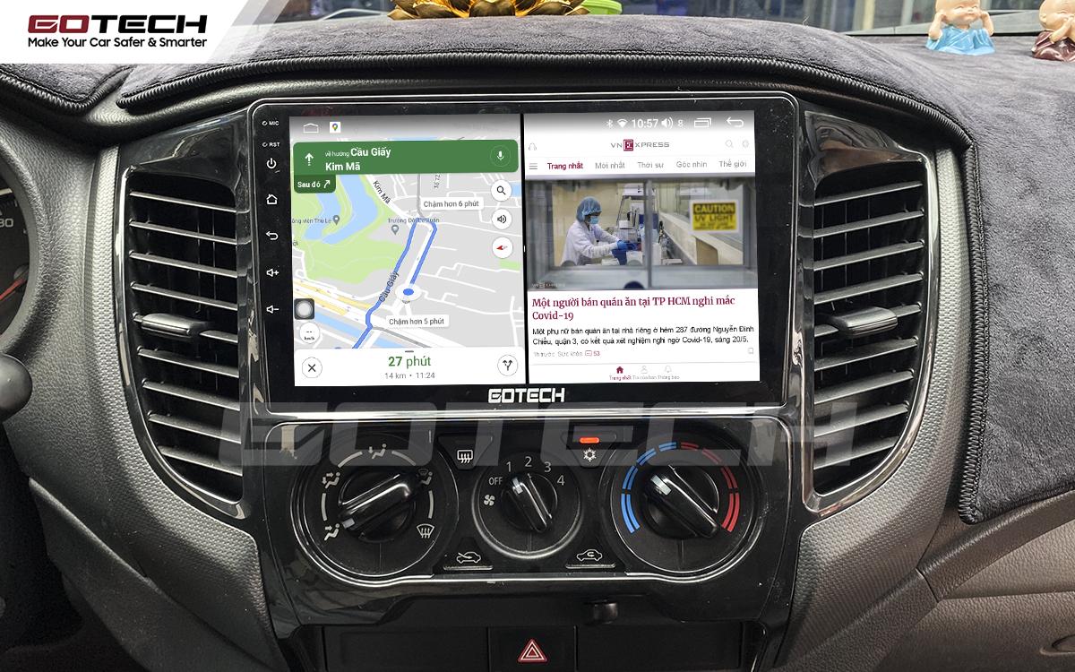 Chạy đa nhiệm ứng dụng mượt mà trên màn hình Android GOTECH cho xe Mitsubishi Triton 2015-2018.