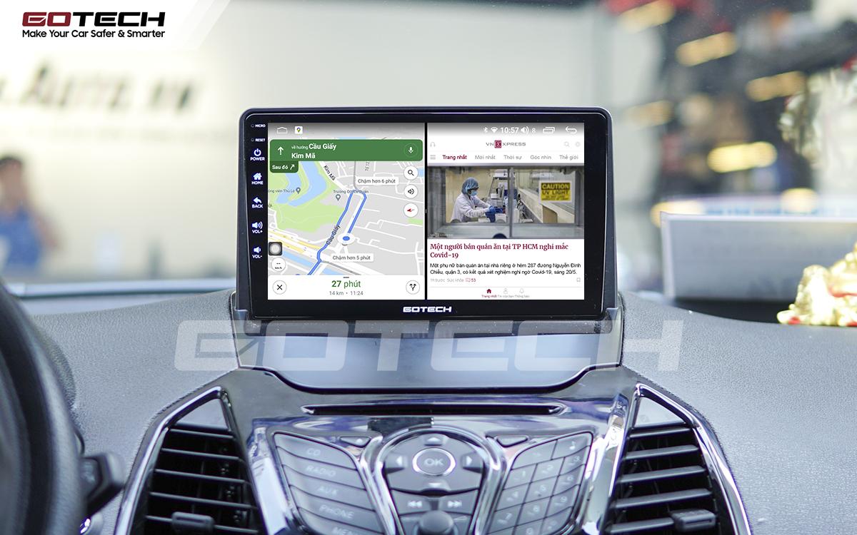 Chạy đa nhiệm ứng dụng mượt mà trên màn hình ô tô GOTECH cho xe Ford Ecosport 2014-2017