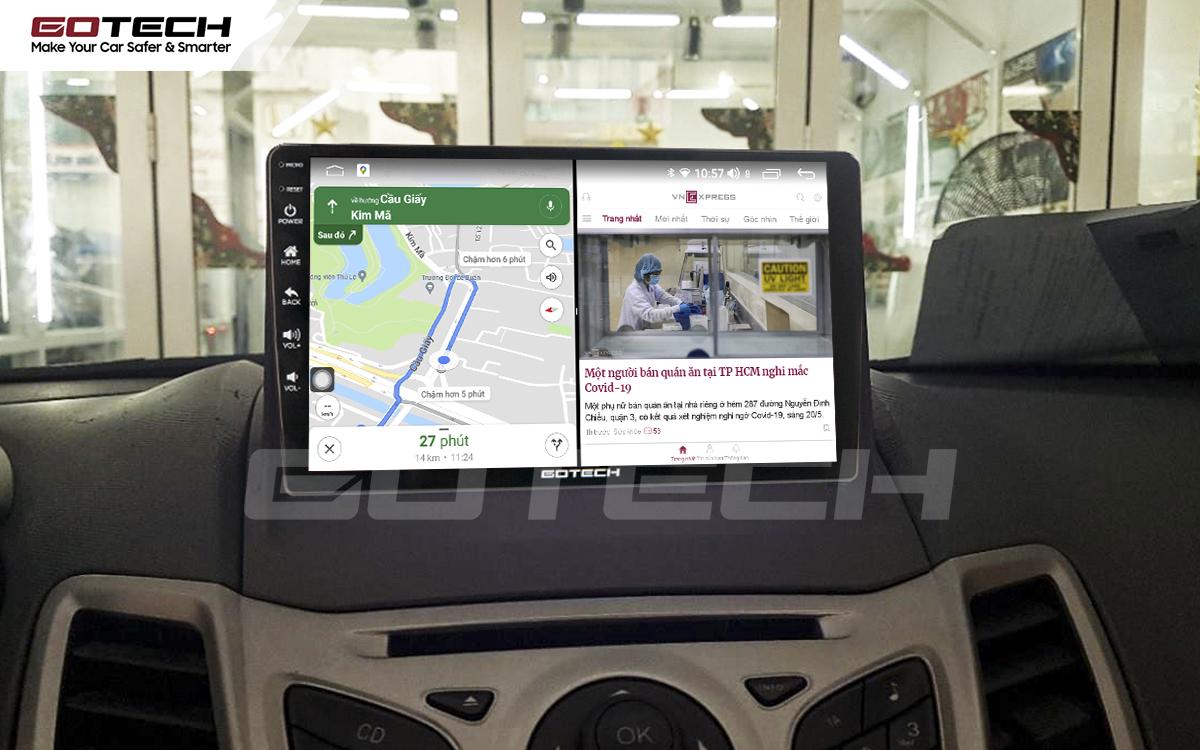 Chạy đa nhiệm ứng dụng mượt mà trên màn hình ô tô GOTECH cho xe Ford Fiesta 2011-2018
