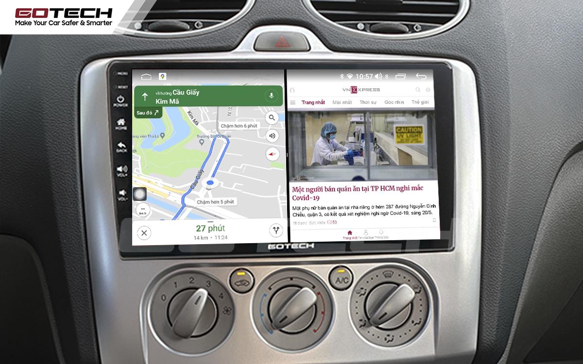Chạy đa nhiệm ứng dụng mượt mà trên màn hình ô tô GOTECH cho xe Ford Focus 2005-2012