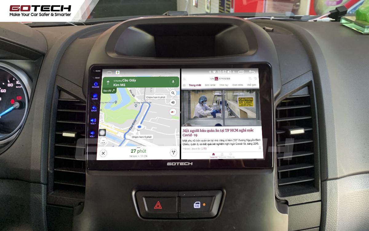 Chạy đa nhiệm ứng dụng mượt mà trên màn hình ô tô GOTECH cho xe Ford Ranger 2013-2018