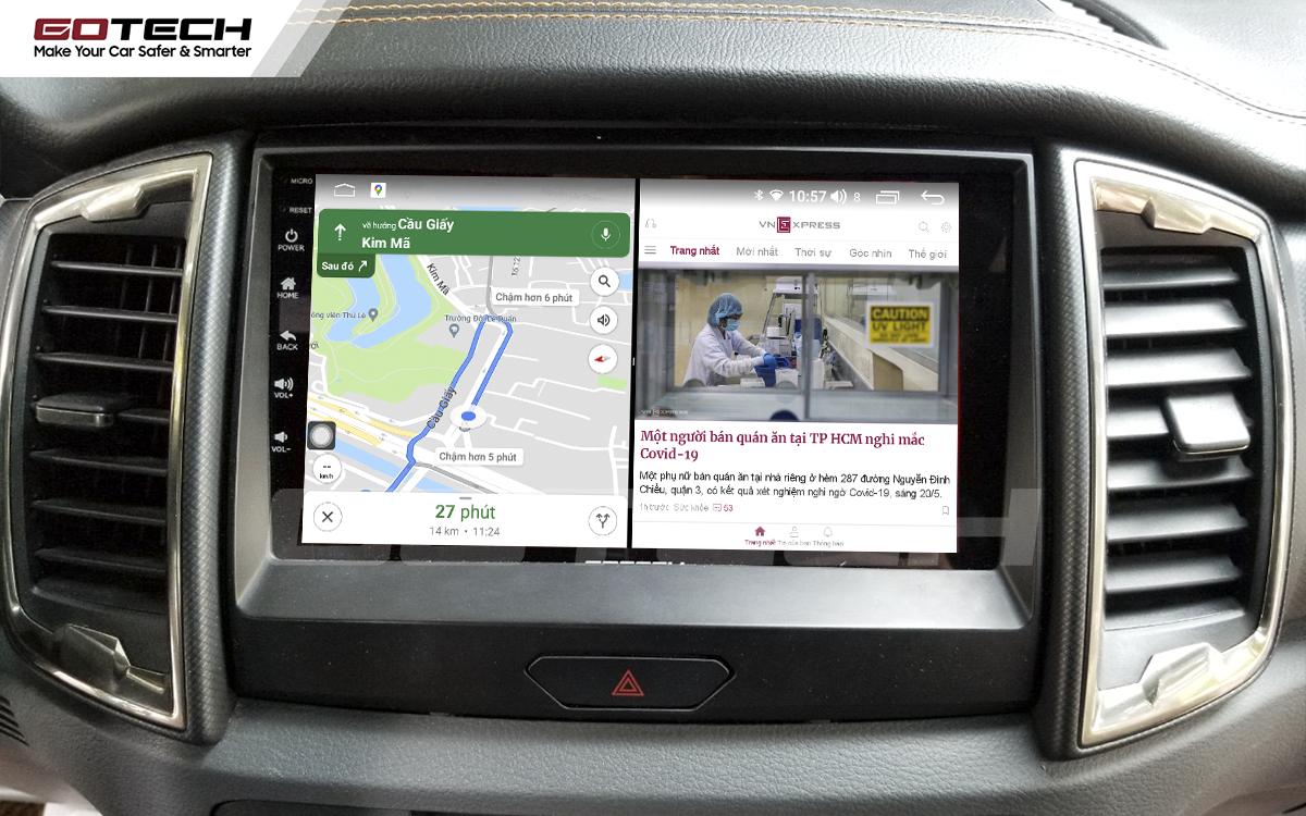 Chạy đa nhiệm ứng dụng mượt mà trên màn hình ô tô GOTECH cho xe Ford Ranger Wildtrak