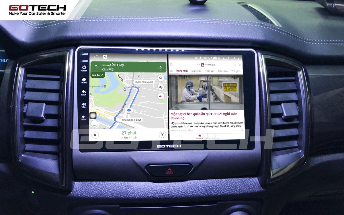 Chạy đa nhiệm ứng dụng mượt mà trên màn hình ô tô GOTECH cho xe Ford Ranger XLS, XLT 2019-2020
