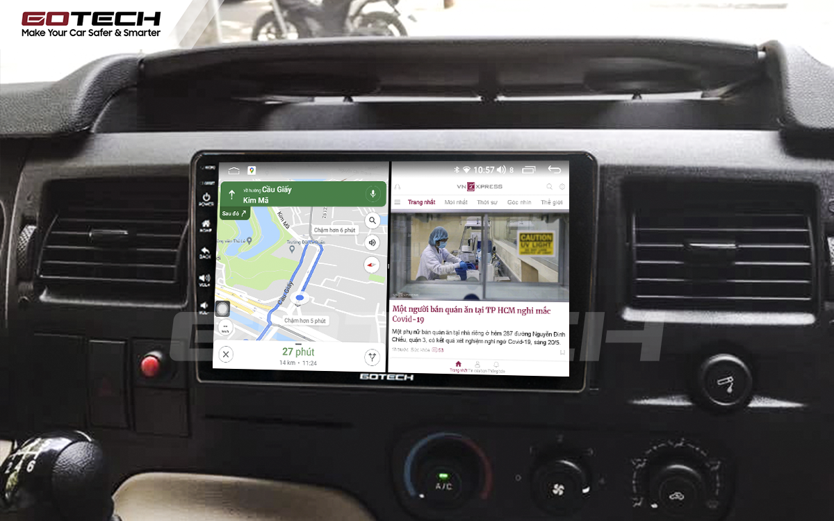 Chạy đa nhiệm ứng dụng mượt mà trên màn hình ô tô GOTECH cho xe Ford Transit