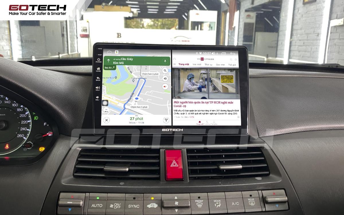 Chạy đa nhiệm ứng dụng mượt mà trên màn hình ô tô GOTECH cho xe Honda Accord 2007-2013