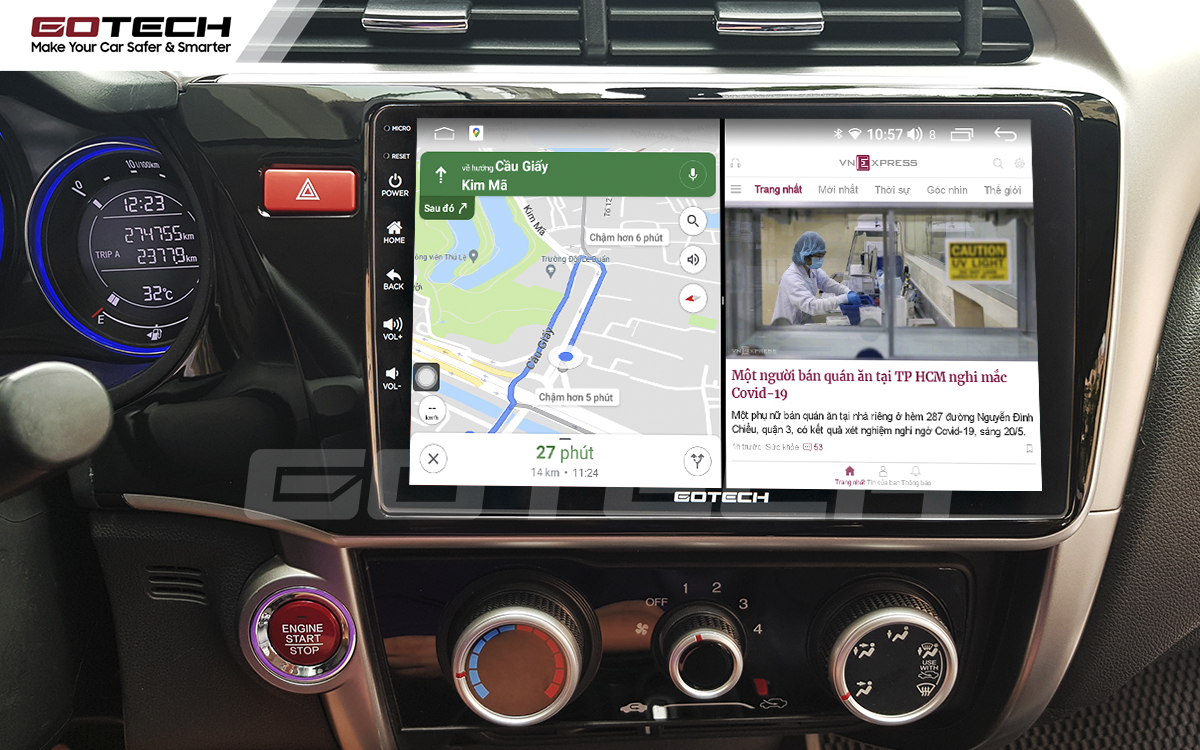 Chạy đa nhiệm ứng dụng mượt mà trên màn hình ô tô GOTECH cho xe Honda City 2014-2020