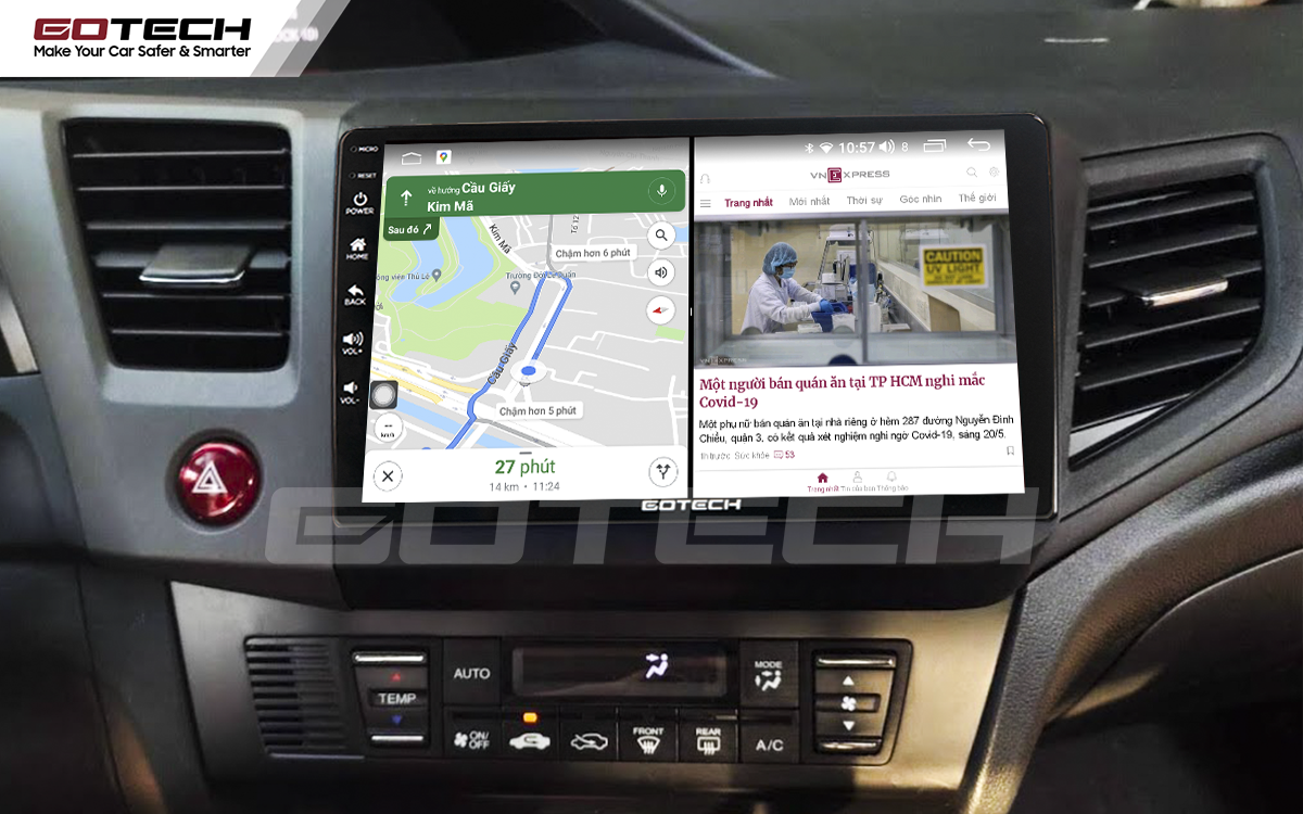 Chạy đa nhiệm ứng dụng mượt mà trên màn hình ô tô GOTECH cho xe Honda Civic 2013-2015