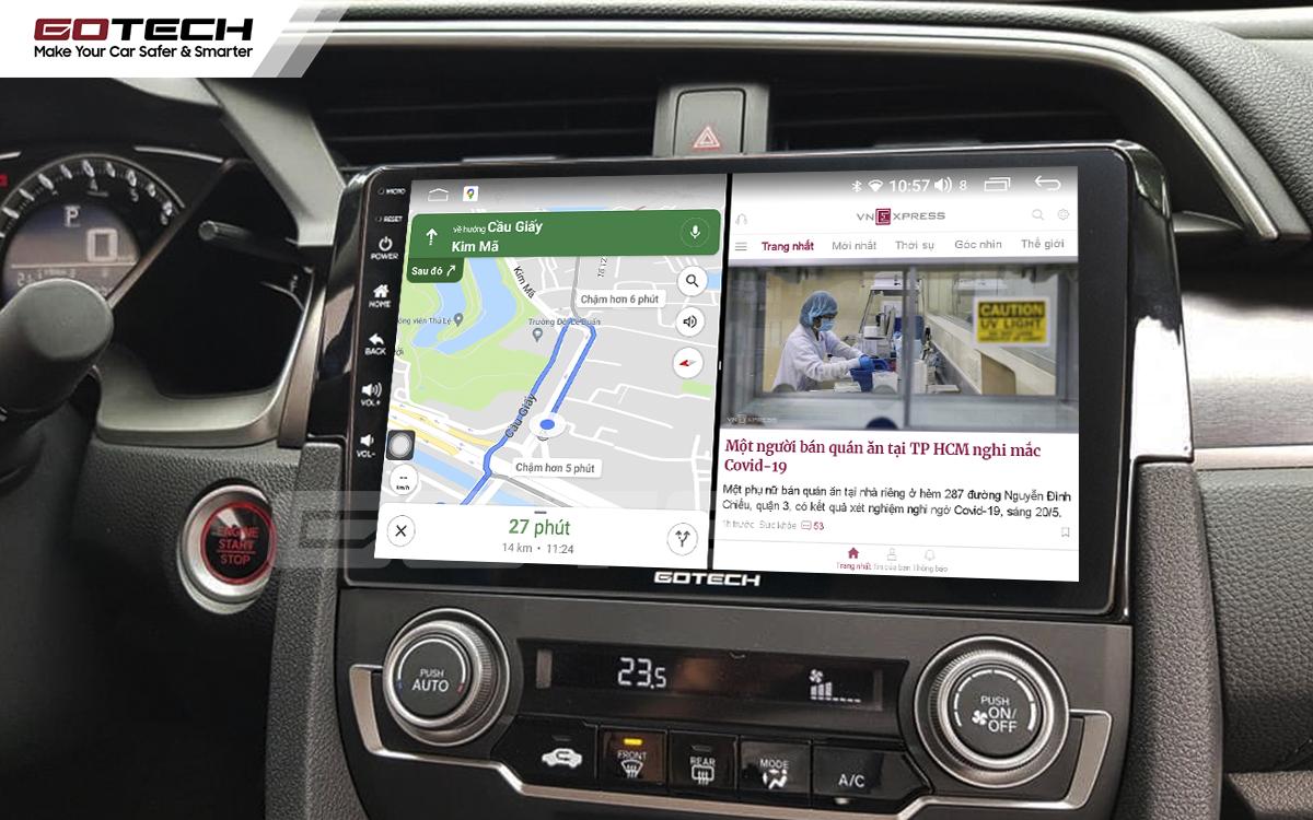 Chạy đa nhiệm ứng dụng mượt mà trên màn hình ô tô GOTECH cho xe Honda Civic 2018-2019