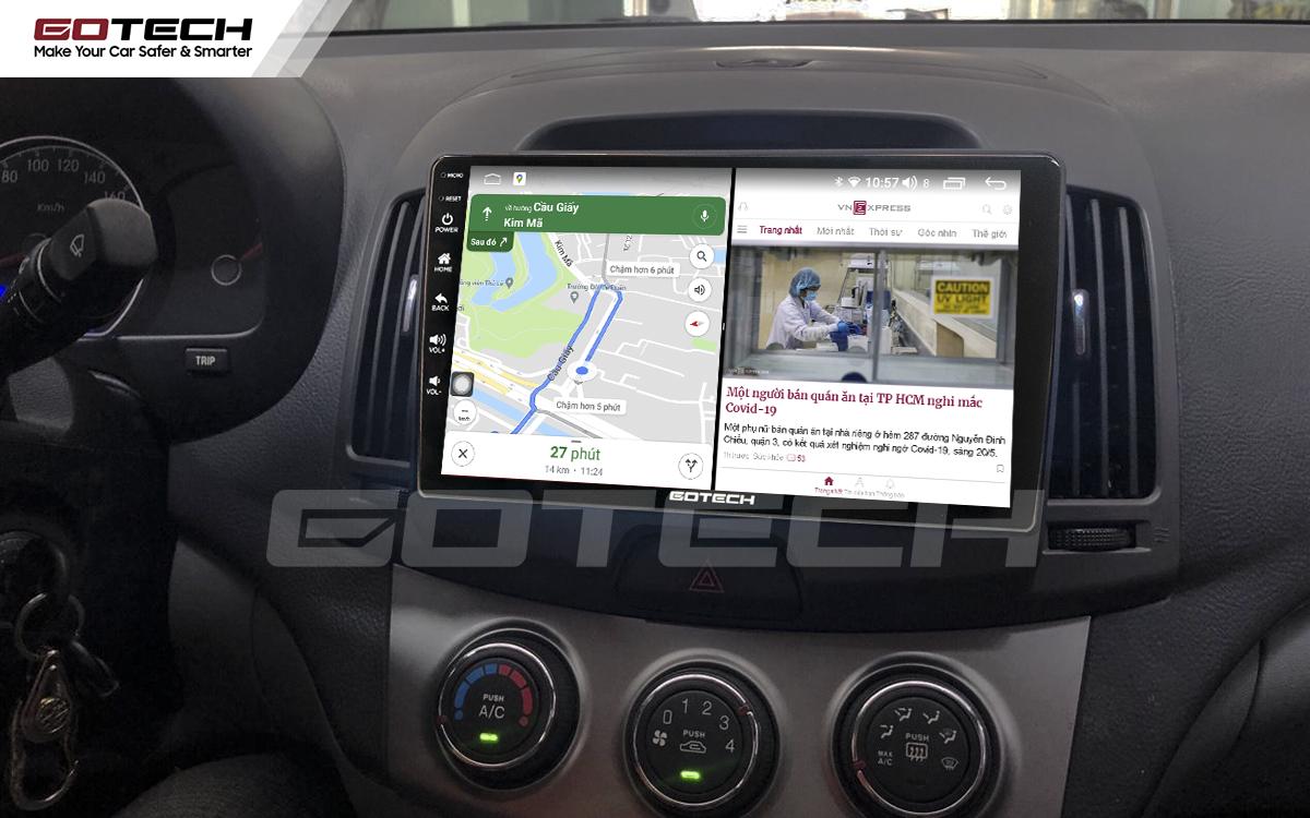 Chạy đa nhiệm ứng dụng mượt mà trên màn hình ô tô GOTECH cho xe Hyundai Avante 2008-2016