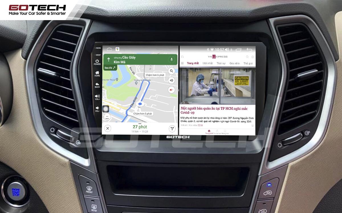 Chạy đa nhiệm ứng dụng mượt mà trên màn hình ô tô GOTECH cho xe Hyundai Santafe 2013-2014