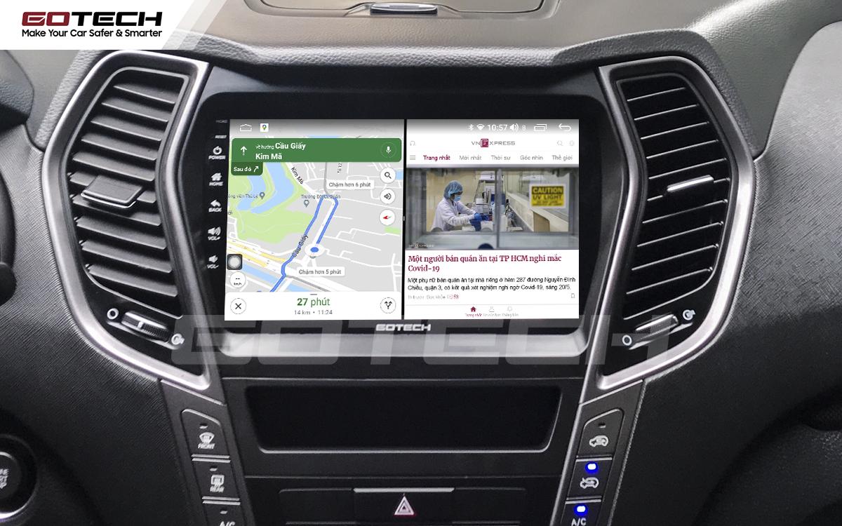 Chạy đa nhiệm ứng dụng mượt mà trên màn hình ô tô GOTECH cho xe Hyundai Santafe 2015-2018