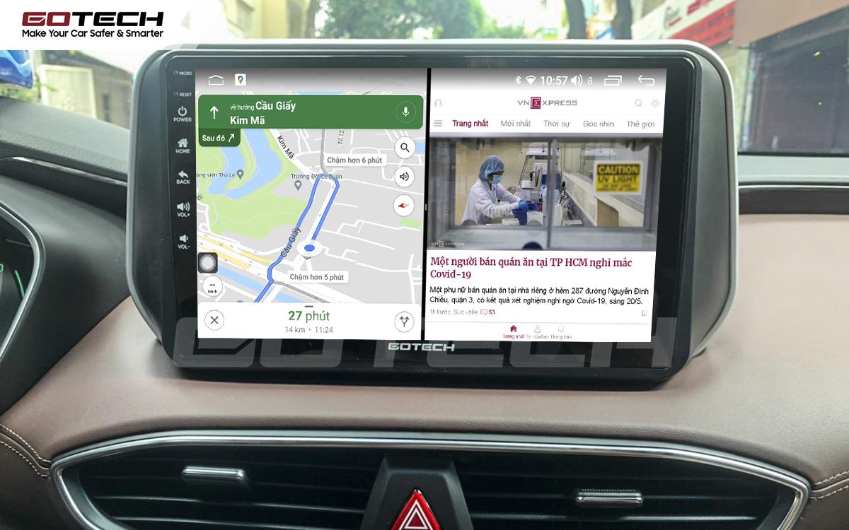 Chạy đa nhiệm ứng dụng mượt mà trên màn hình ô tô GOTECH cho xe Hyundai Santafe 2019-2020