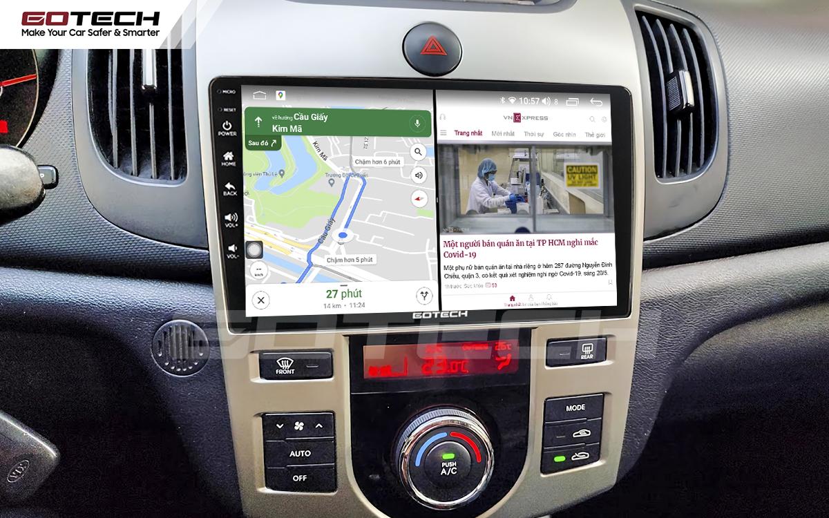 Chạy đa nhiệm ứng dụng mượt mà trên màn hình ô tô GOTECH cho xe Kia Forte 2008-2013
