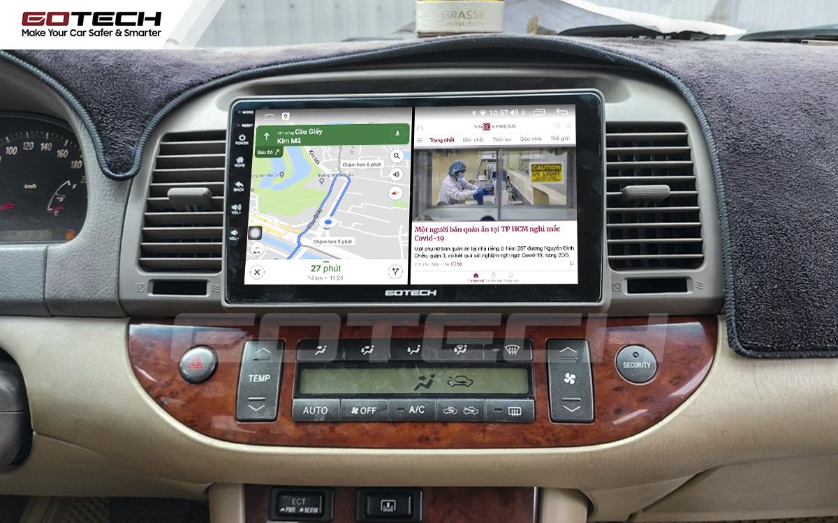 Chạy đa nhiệm ứng dụng mượt mà trên màn hình ô tô GOTECH cho xe Toyota Camry 2003-2006
