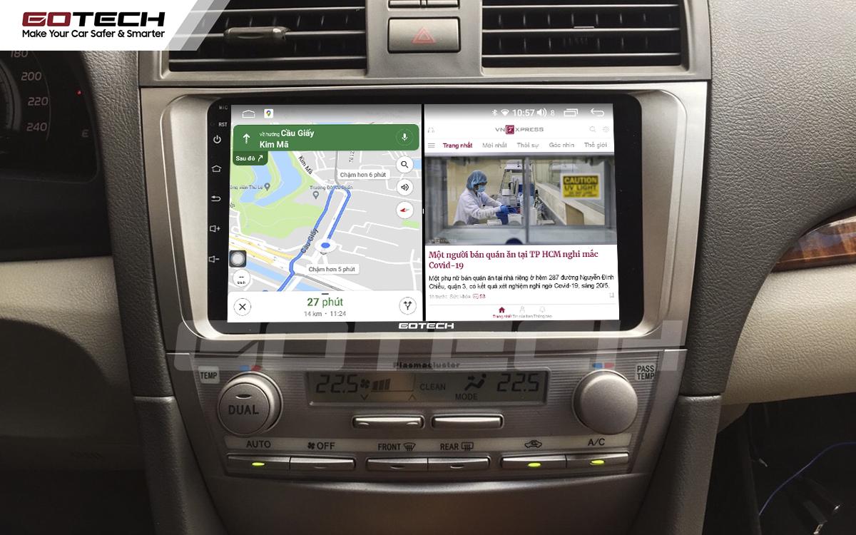 Chạy đa nhiệm ứng dụng mượt mà trên màn hình ô tô GOTECH cho xe Toyota Camry 2007-2012