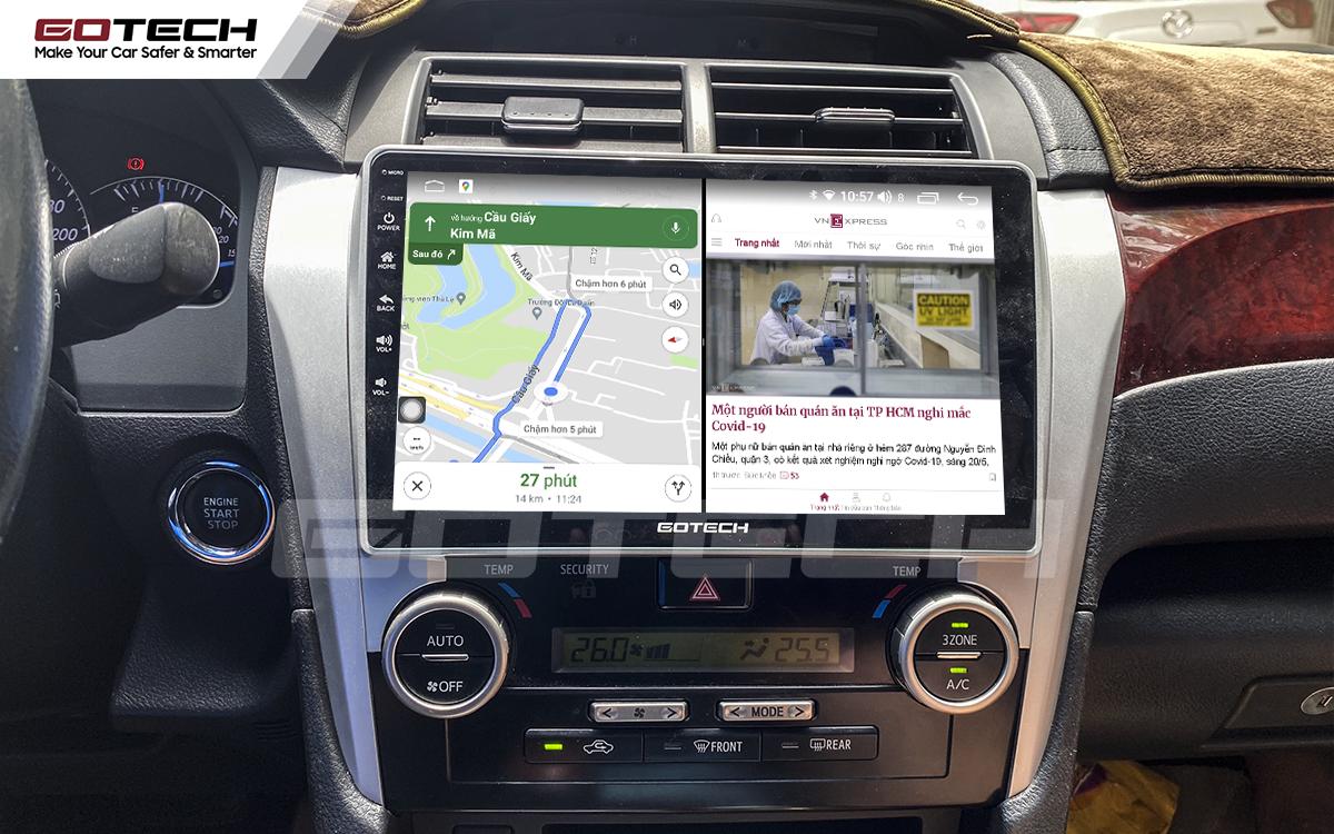 Chạy đa nhiệm ứng dụng mượt mà trên màn hình ô tô GOTECH cho xe Toyota Camry 2013-2014