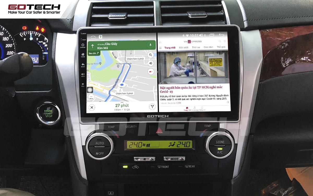 Chạy đa nhiệm ứng dụng mượt mà trên màn hình ô tô GOTECH cho xe Toyota Camry 2015-2018