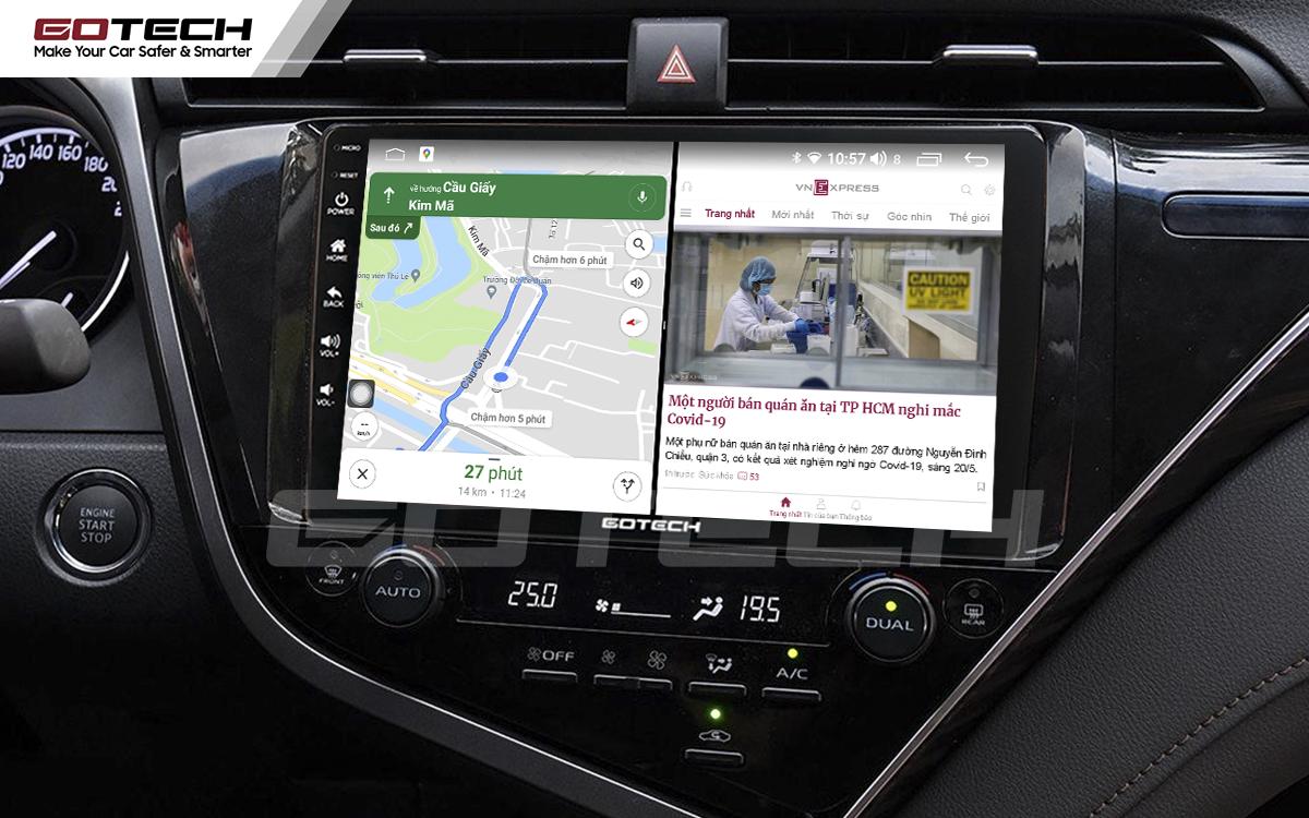 Chạy đa nhiệm ứng dụng mượt mà trên màn hình ô tô GOTECH cho xe Toyota Camry 2019-2020