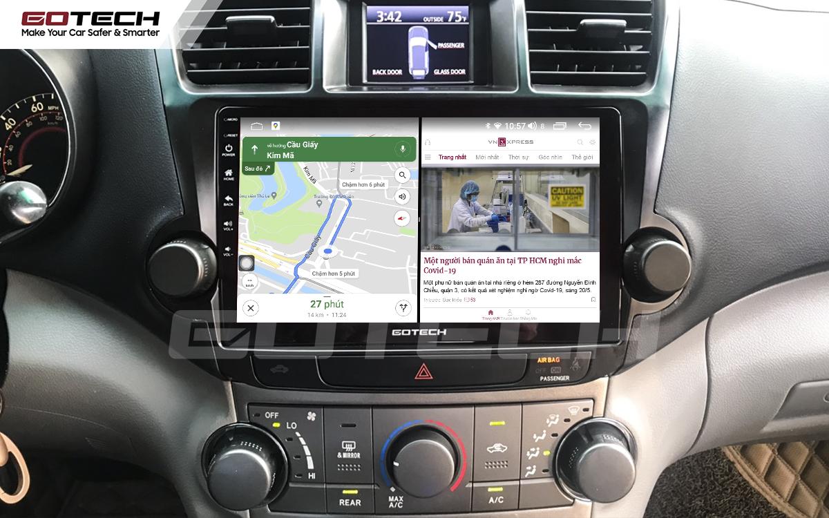 Chạy đa nhiệm ứng dụng mượt mà trên màn hình ô tô GOTECH cho xe Toyota Highlander 2009-2013