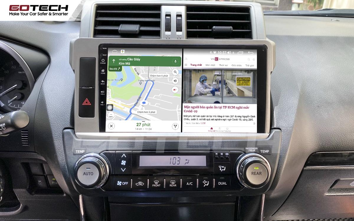 Chạy đa nhiệm ứng dụng mượt mà trên màn hình ô tô GOTECH cho xe Toyota Prado 2014-2016