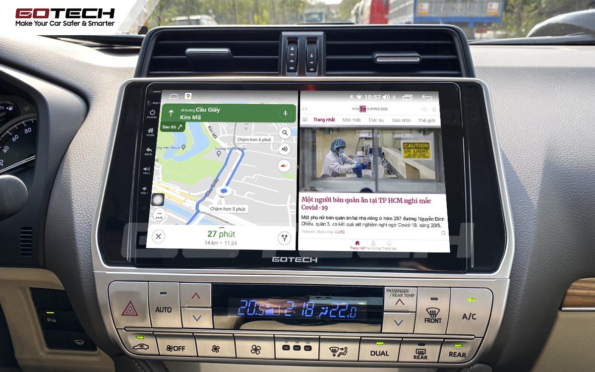 Chạy đa nhiệm ứng dụng mượt mà trên màn hình ô tô GOTECH cho xe Toyota Prado 2017-2020