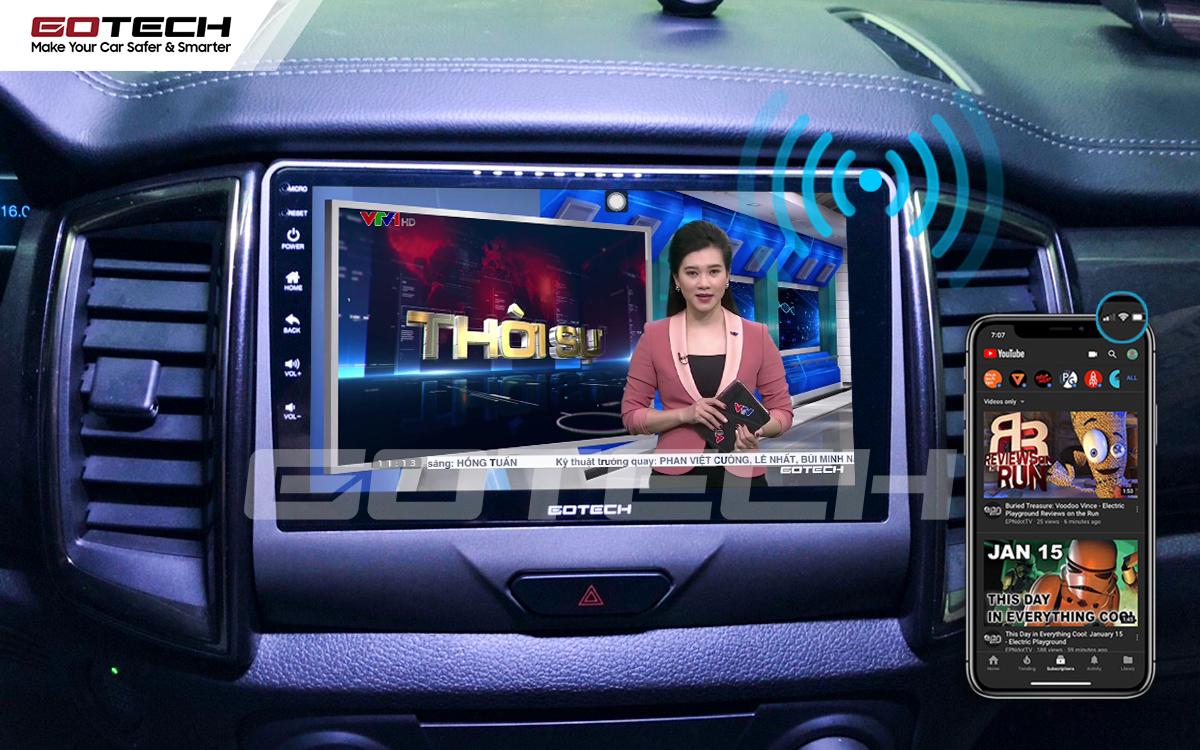 Chia sẻ wifi không cần dùng ổ phát trên màn hình GOTECH cho xe Ford Ranger XLS, XLT 2019-2020