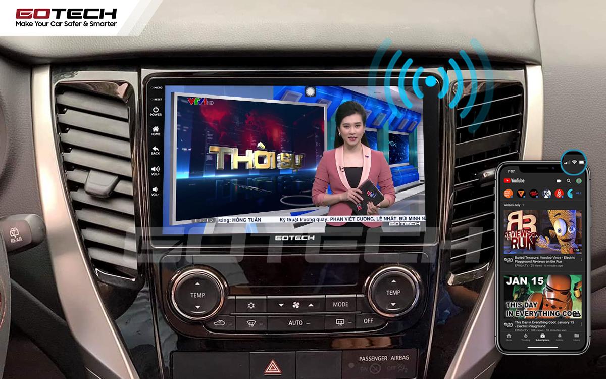Chia sẻ wifi không cần dùng ổ phát trên màn hình GOTECH cho xe Mitsubishi Pajero Sport 2018-2019