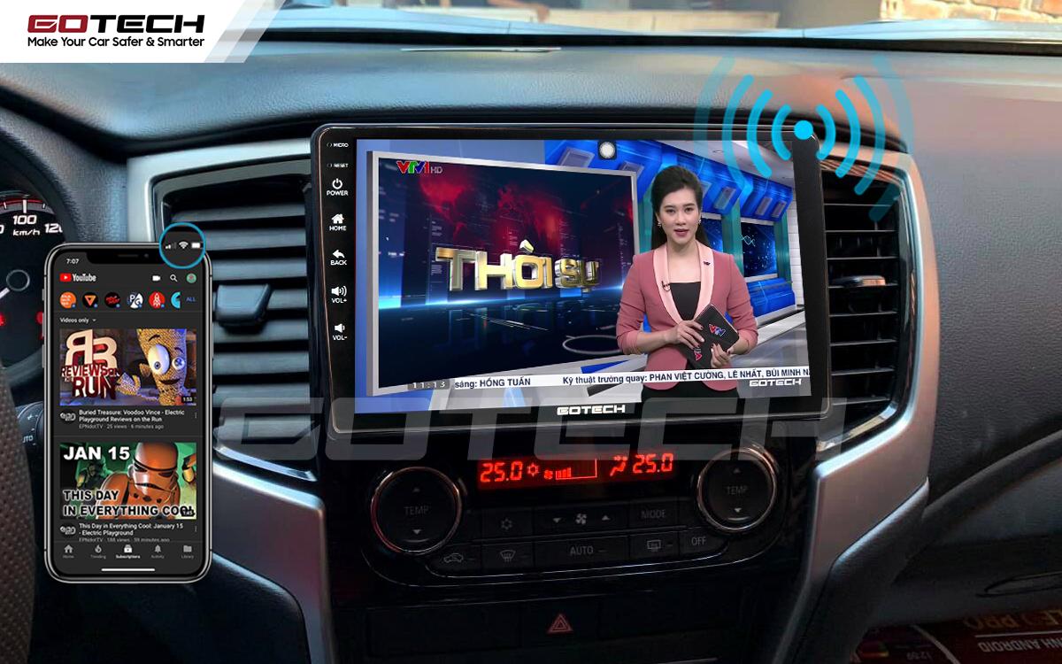 Chia sẻ wifi không cần dùng ổ phát trên màn hình GOTECH cho xe Mitsubishi Triton 2019-2020