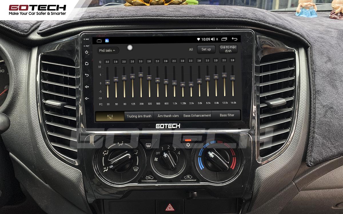 Bộ xử lý tín hiệu âm thanh DSP 32 kênh trên màn hình ô tô GOTECH cho xe Mitsubishi Triton 2015-2018.