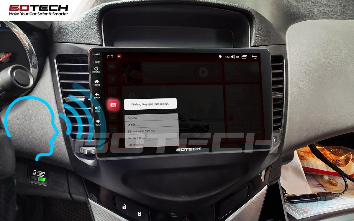 Điều khiển giọng nói qua vô lăng trên màn hình ô tô GOTECH cho xe Chevrolet Cruze