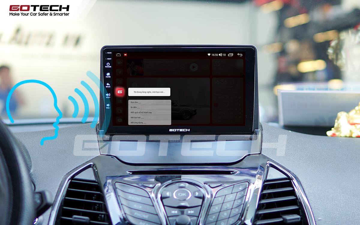 Điều khiển giọng nói qua vô lăng trên màn hình ô tô GOTECH cho xe Ford Ecosport 2014-2017