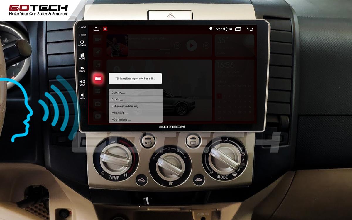 Điều khiển giọng nói qua vô lăng trên màn hình ô tô GOTECH cho xe Ford Everest 2009-2015