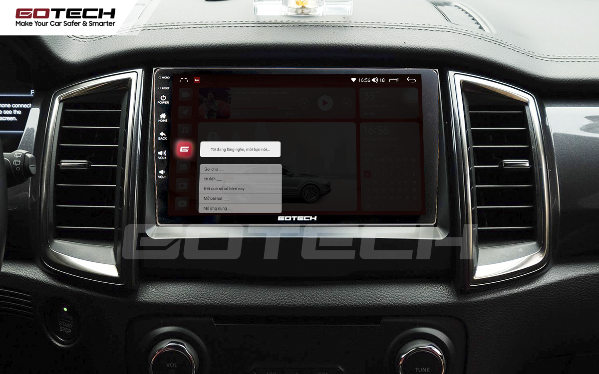 Điều khiển giọng nói qua vô lăng trên màn hình ô tô GOTECH cho xe Ford Everest 2017-2018